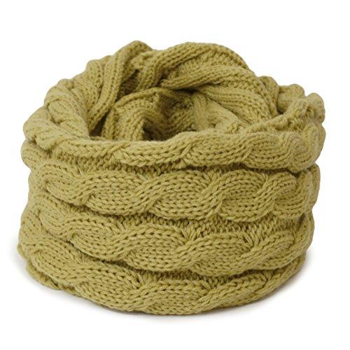 (トライバル)TRIBAL 品良く巻ける 大人カジュアルなスヌード ケーブル編みシンプルニットスヌード ブルー