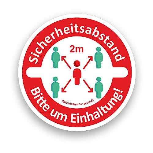 AufkleberDealer.de Bitte Abstand HALTEN Fußbodenaufkleber Bitte Mindestabstand von 2m einhalten 20 cm x 20 cm, Zertifizierte Folie (rutschhemmend nach DIN)