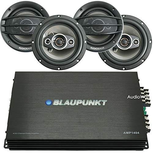 BLAUPUNKT AMP1404 1500 Watts Maximum Output Power 4-Channel Full Range Car Audio Amplifier + AUDIOBANK 6.5 Coaxial Car Audio Speakers 400 Watts Peak Power - (4 Speakers)