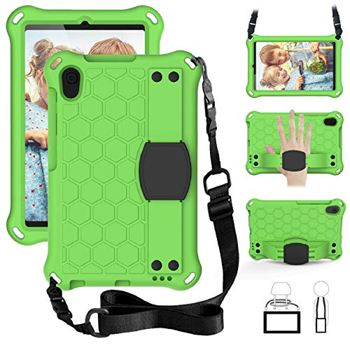 EC-Touch Case for Samsung Galaxy Tab A 8.4 2020 (SM-T307/T307U),Slim Shockproof Impact-Resistant Silicone Stand Smart Cover Case with Hand Strap,Shoulder Strap (Green+Black)