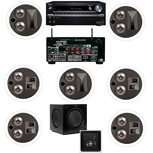 Klipsch KL-7502-THX 7.1 In-Ceiling System-Onkyo TX-NR838 7.2 Channel Network- White
