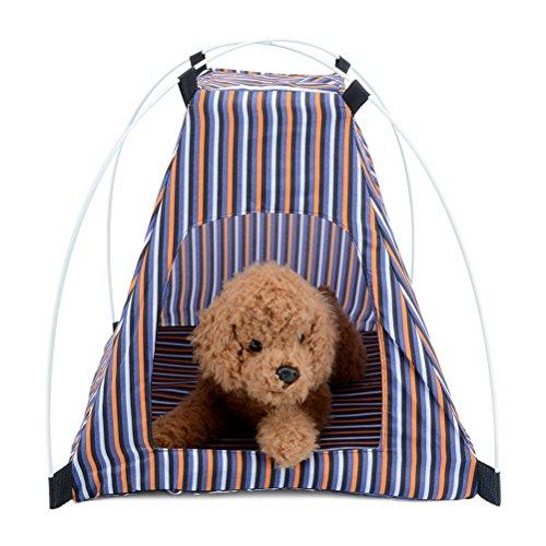 Zunea Tente pour chat et chien - À rayures - Portable - Pliable - Pour l'extérieur - Plage - Camping - Intérieur - Extérieur - Pique-nique - Voyage - Orange