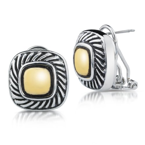 Willow Xpress Altman Gold and Silvertone Omega Button Earrings