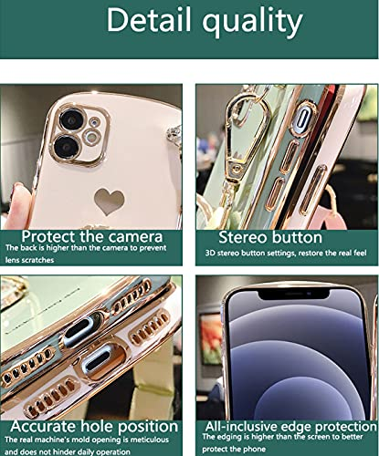 Silica Gel Phone Case, Cell Phone Case With Lanyard Creative Clock Ring Stand Tempered Film Crossbody , Anti-Drop Soft Silicone Shell for Iphone 11, Iphone 12, Pro, Pro Max (Matcha, for iphone11)