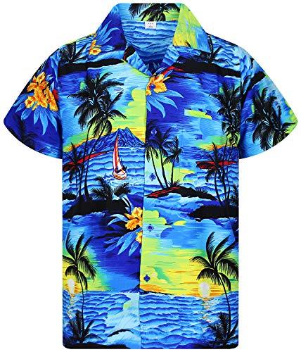 V.H.O. Funky Hawaiihemd, Kurzarm, Surf, blau, XXL