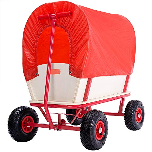 Deuba Wagon Kids Garden Cart Trolley Child Toys Games Pull Along Truck Red Canopy