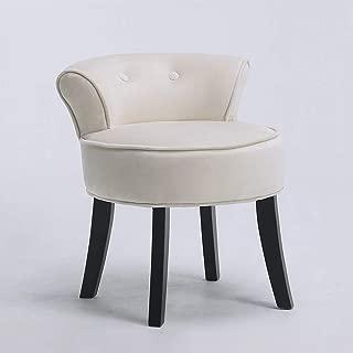 Velvet Makeup Vanity Stool Chair Bench for Bedroom with Rivet Deco for Dressing Table (Cream)