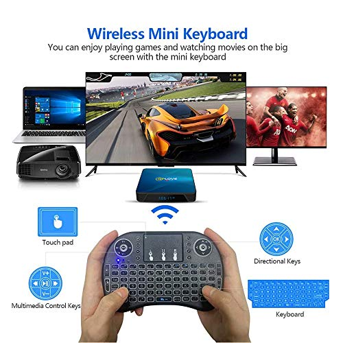 QPLOVE Android TV Box Android 10.0 4 GB + 64 GB: TV-Box Q8 RK3318 Quad-Core 64 bit Cortex-A53 / WLAN 2,4 G/5 G + LAN 100 M/4 K UHD/Android TV Box mit Mini-Tastatur Touchpad