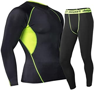 Men Compression Tights & Shirts Training Fitness Uniforms Basketball Soccer Clothes Stretch Sets Athletic Pants+Shirt Suit