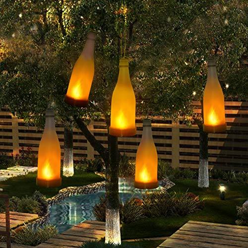 Set di 5 Lampade Solari da Giardino Luci Tremolanti Bottiglia Effetto da Fiamma da Luci Solare Appendibile Decorative All\'aperto per il Giardino, Patio, Albero di Chrismas, Partito