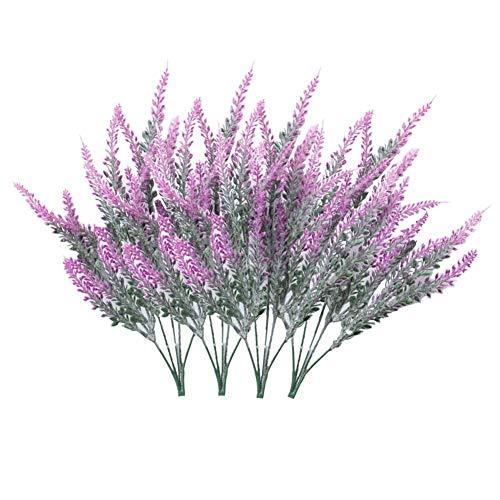 Houdao 4 Bündeln Kunstblüten Beflockte Künstliche BlumenLavendel Pflanze Kunstblumen Deko im Topf für DIY Hochzeit Bankette Garten Büro Zuhause Deko(Roter Lotus)