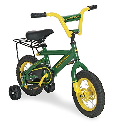 John Deere 12u0022 Boys Bicycle, Kids Bike with Training Wheels and Front Hand Brake, Green