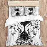Juego de funda nórdica, reloj de arena espacial, tatuaje del símbolo del tiempo, astrología, infinito, eternidad, vida y muerte, juego de cama decorativo de 3 piezas con 2 fundas de almohada