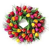 Asdomo Corona de flores artificiales de tulipán, 17.75 pulgadas, corona de ramita floral con base de ramita para puerta delantera, pared para el hogar, decoración de temporada
