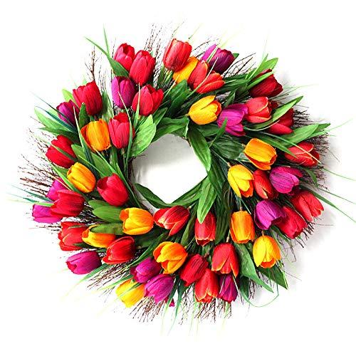 Tulip Flower Wreath, 17inch Front Door Twig Wreath