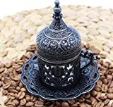 HeraCraft Turkish Greek Arabic Moroccan Coffee & Espresso Cup with Inner Porcelain, Metal Holder, Saucer and Lid, 1 Cup Consists of 4 pieces & Hand Made (black)