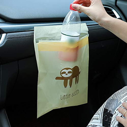 75pcs Adhesive Foldable Car Trash Bags, Hanging Disposable Storage Bags for Cars, Suitable for Trash Cans in Cars, Homes, Schools, and Offices (Color : Yellow-sloth)
