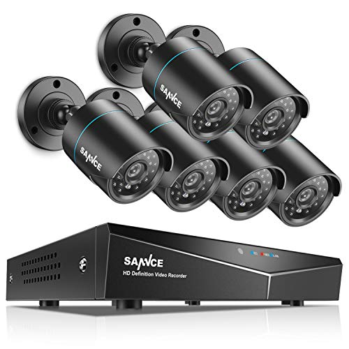 SANNCE Kit de Seguridad Sistema de 8CH 1080N DVR 5-en-1 y 6 Cámaras de vigilancia 720P HD con visión Nocturna Leds IP66 Interior/Exterior Acceso Remoto-sin HDD
