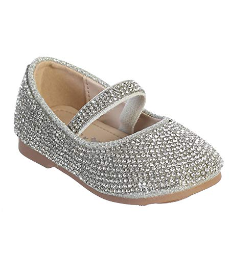 Silver Infant Toddler Girls Rhinestone Studded with Elastic Straps Flower Girls Shoes S139 Size 2