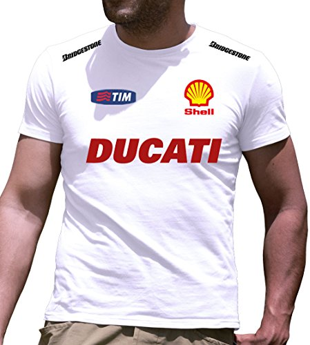 T-Shirt Ducati personalisierte Kurzarm T-Shirt (XL, Weiß)