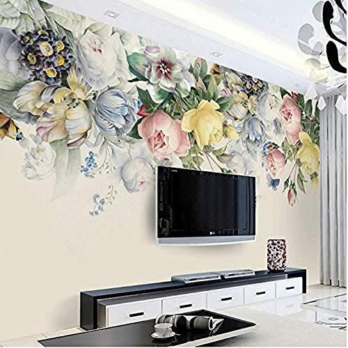 Carta da parati 3D Carta da parati floreale Soggiorno TV Foto Carta dipinta a mano Rose Flower carta da parati fotomurali murale vintage-400cm×280cm