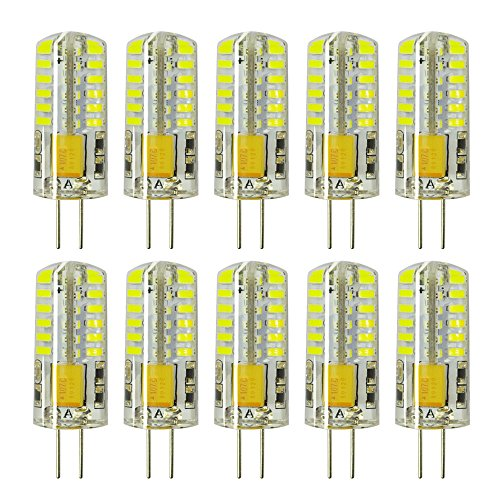 Rayhoo 10pcs G4 LED Bulbs JC Bi-Pin Base Light Lamps 3 Watt AC/DC 12V 20W-30W T3 Halogen Track Bulb Replacement Landscape Bulbs(White 5800-6200K)