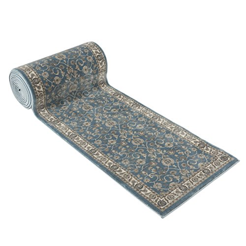 25' Stair Runner Rugs - Luxury Bergama Collection Stair Carpet Runner Nearly 1 Million Points Per Sq.Meter (Blue)