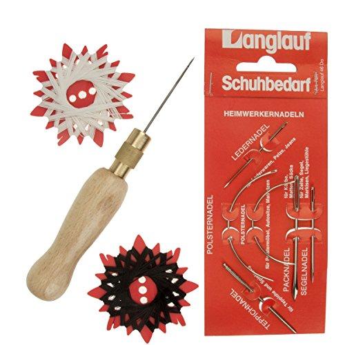 Näh Ahle Set für Leder und schwere Stoffe, Blister mit 6 verschiedenen Nadeln, Haken Nadel und Garn/Faden (schwarz und weiß) von Langlauf