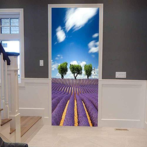 Türaufkleber Selbstklebende Tür Tapete 3D Lavendelfeld Fototapete Art Türfolie Poster Tapete Pvc Wasserdicht Abnehmbare Wandbilder Für Schlafzimmer Badezimmer 95X215Cm