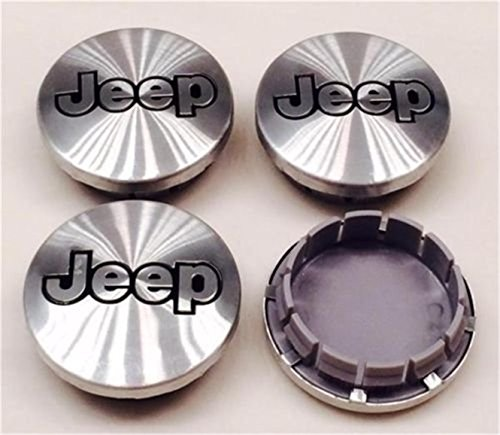 Jqlcgtmqwu Brand New Set 4 Pieces For 56mm Jeep Grand Cherokee Wrangler Commander Liberty Compass Aluminium Silver Wheel Hub Emblem Logo Cover Caps 52059522AA