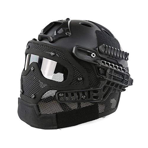 PJ Fast Taktischer Helm Airsoft Paintball Schutzhelm Vollgesichtsmaske Brille Outdoor Sport Jagd CS Spiel