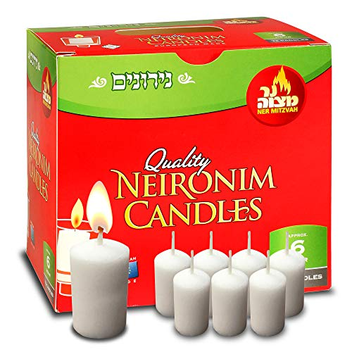 6 Hour Neironim Candles - Shabbat and Votive Wax Candle - 72 Count - by Ner Mitzvah