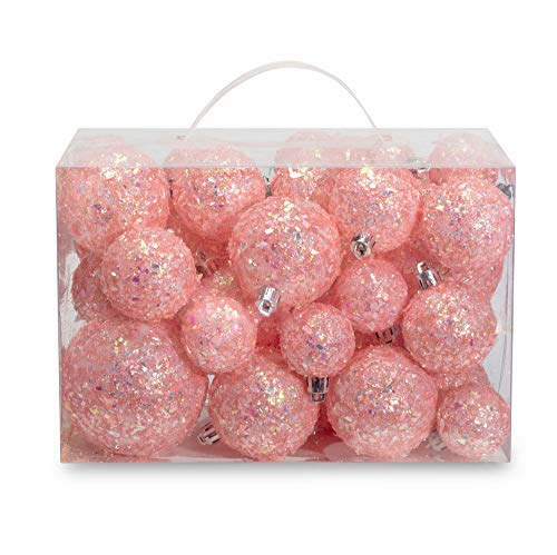AMS 34ct Handmade Iridescent Xmas Balls Shatterproof Christmas Ornaments Set Glitter Special Color Decoration (34ct, Pink Iridescence)
