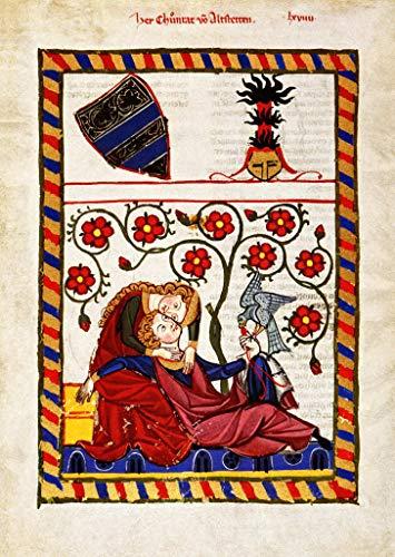 Kunstdruck/Poster: Buchmalerei Zürich Konrad von Altstetten Codex Manesse - hochwertiger Druck, Bild, Kunstposter, 40x55 cm