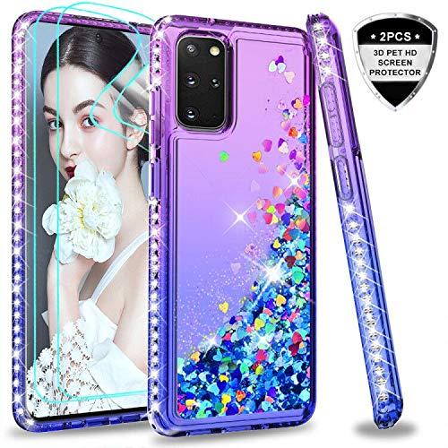 LeYi für Samsung Galaxy S20 Plus Hülle Glitzer Handyhülle mit 3D PET Schutzfolie(2 Stück), Diamond Cover Bumper Schutzhülle für Case Samsung Galaxy S20 Plus Handy Hüllen ZX Purple Blue
