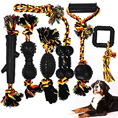 Yipetor Durable Dog Chew Toys, Rubber Toy Set, Pet Cotton Knot Rope Ball, Indestructible, Interactive and Relieve Boredom, Tug of War, Teething, Training, Best Gift for Small/Medium Dogs(6 Pack)