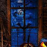 Joyjoz Halloween Rideau De Porte Fenêtre avec 24pcs 3D Batte Autocollant, Decoration Halloween Nappe Cheminée Foulard Toile d'araignée Chauve Souris Stickers