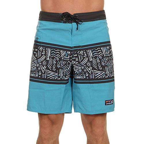 Patagonia M's Wavefarer Boardshorts-19 In. Herren-Shorts. XXL Busy Body Stripe: Mako-Blau