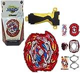 ML Juego peonza de batallas , Lanzador de Mano de peonza Infinity Juguete con Lanzador de Mano Espada Estilo Bey. Juguete para niños Color roja