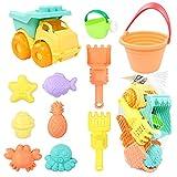TONZE Juguetes Set de Playa para Niños- 9 Piezas con Regadera,Palas Playa,Cubo Playa para Arena y Camiones Juguetes Playa 3 4 5 6 Años