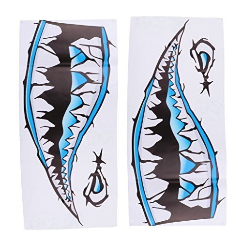 Baoblaze 1 Pair Kayak Canoe Fishing Boat Dinghy Car Bumper Airplane Window Large Funny 3D Shark Teeth Mouth Decals Sticker - 36.5 x 14 cm - 3 Colors - Blue