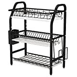 Dish Drying Rack, 1Easylife 3 Tier Dish Rack for Pots and Pans, Stainless Steel Dish Drainer with Utensil Holder Cutting Board Holder and Removable Drain Tray for Kitchen Counter Organizer