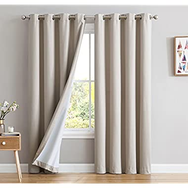 HLC.ME Textured 100% Blackout Room Darkening Thermal Lined Curtain Grommet Panels For Living Room - Energy Efficient, Complete Darkness, Noise Reducing - Set of 2 (52  W x 84  L, Beige)