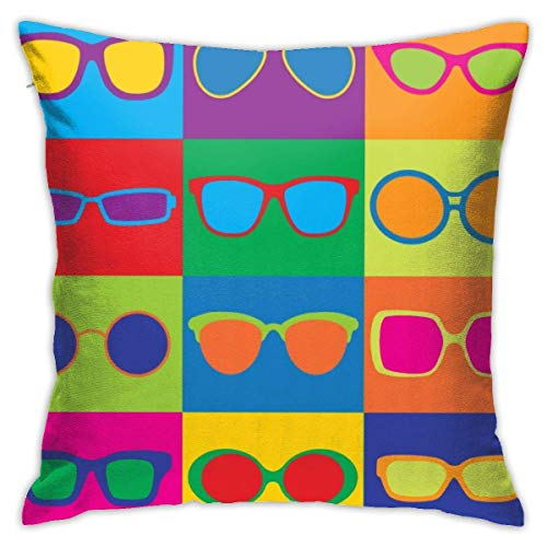 Colorido Tablero de ajedrez para Gafas Fundas de Almohada Funda de Almohada Funda de cojín para decoración de Oficina en casa Cuadrado 40X40 Cm