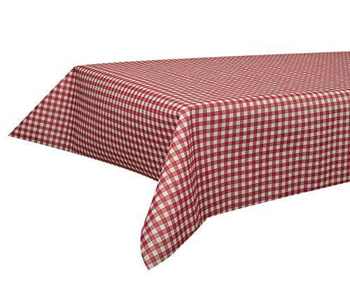 Sensalux Buffet-Tischdecke, Vlies, 1,5m x 3m, Standard 100 by Oeko-TEX® - Klasse I, abwischbar, Lotuseffekt, Karomuster, Weiß-Rot