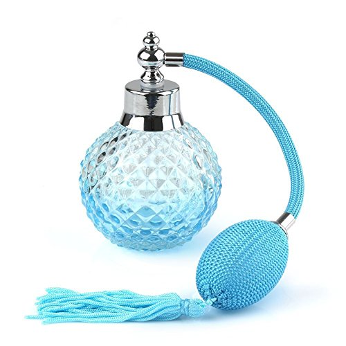 Coolrunner Crystal Art Vintage Style Refillable Perfume Atomizer Long Spray Bottle 100ml (Blue)