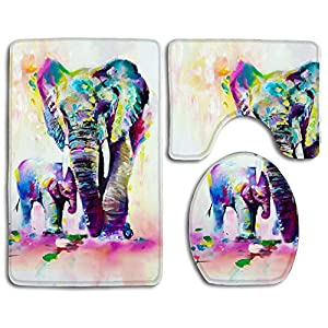 3 Pieces Bathroom Rug Mat Set, Elephant Watercolor Bath Mat+ Lid Toilet Cover + Bath Mat Set Rug Area Carpet for Home Decorations