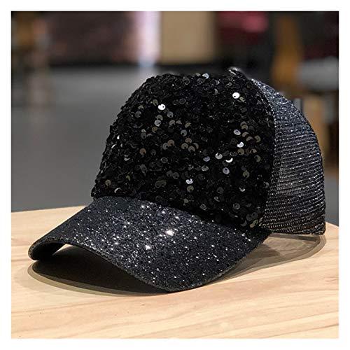 lliang Sombrero Gorra de Malla Lentejuelas Lentejuelas Gorras de béisbol Moda Casual Chica Puede Ajustar el Sombrero de la Cubierta del Sombrero del Hip Hop (Farbe : Black, Größe : 55 59cm)