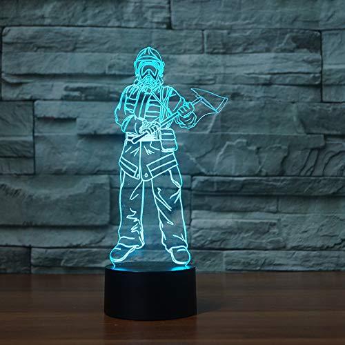 3D pompiere illusione lampada luce notturna 7 cambia...