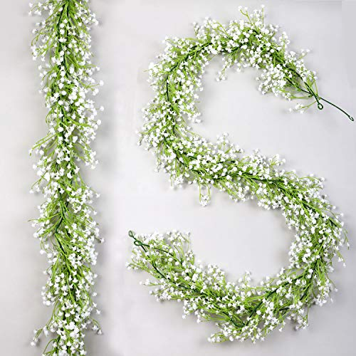 famibay Artificial Baby Breath Garland 2 Pack 5.9FT Faux White Gypsophila Flower Vine Garland Hanging Wedding Flower Garland for Wedding Home Outdoor Garden Ceremony Arch Floral Decor(White)